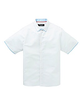 Black Label Linen Mix Trim Shirt Reg