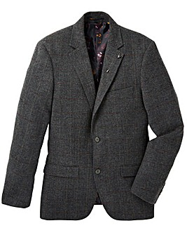 Black Label Herringbne Check Blazer Long