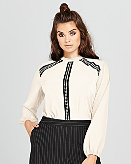 Simply Be Lace Trim High Neck Blouse