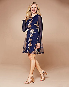 Simply Be Midnight Sequin Skater Dress
