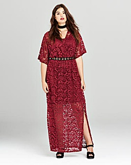 Simply Be Berry Lace Wrap Maxi Dress