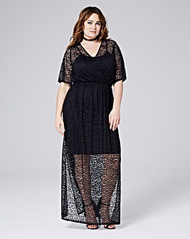 Simply Be Leopard Mesh Wrap Maxi Dress