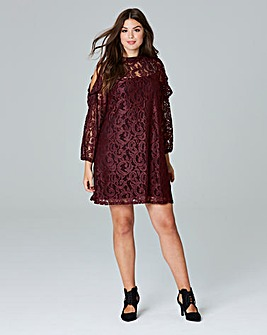 Simply Be Lace Cold Shoulder Swing Dress