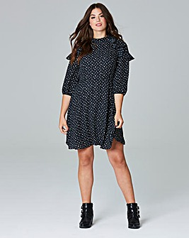 Simply Be Spot Ruffle Dress