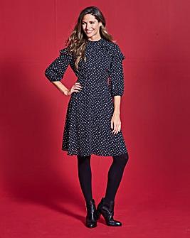 Simply Be Spot Ruffle Dress