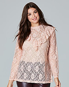 Simply Be Lace Ruffle Blouse