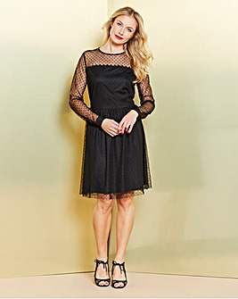 Simply Be Spot Mesh Midi Dress