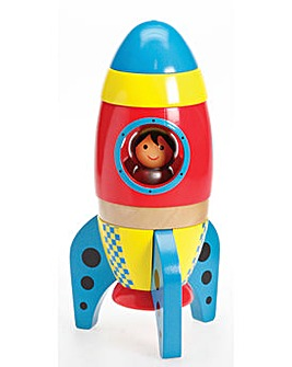 Small Wooden Space Rocket 6 Piece Set
