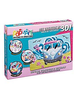 Pop Art 3D Cupcake, Campervan & Butterfl