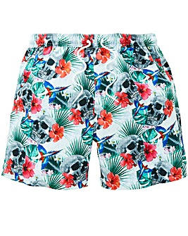 Label J Skull Floral Swim Short
