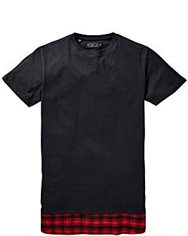 Label J Longline Check Print T-Shirt Reg