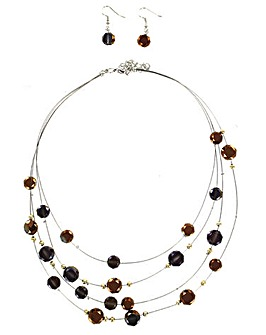 Multi Wire Beaded Necklace
