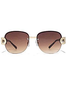 Carvela Metal Link Rimless Sunglasses