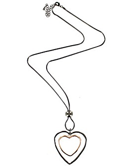 Double Heart Outline Necklace