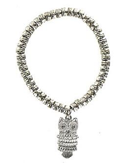 Elasticated Owl Charm Bracelet