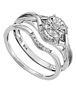 9 Carat Fancy Diamond Bridal Ring Set