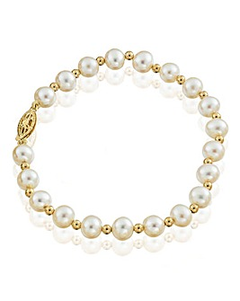 9 Carat Gold Pearl Stretch Bracelet