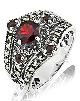 Garnet and Marcasite Vintage Look Ring