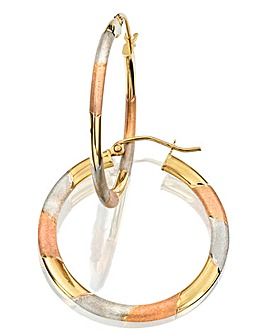 9Ct Three-tone Gold Large Hoop Earrings