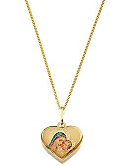 9 Carat Madonna & Child Heart Pendant