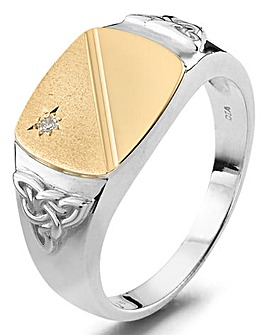 Sterling Silver & 9ct Gold Ring
