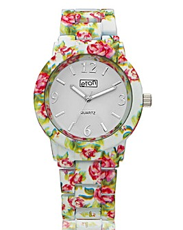 Ladies Flower Print Bracelet Watch