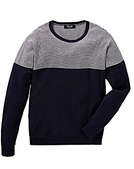 Black Label Stripe Panel Fine Crew Knit