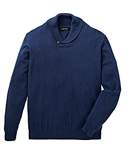 Black Label Shawl Neck Fine Knit Long