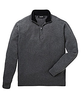 Black Label Zip Neck Fine Knit Regular