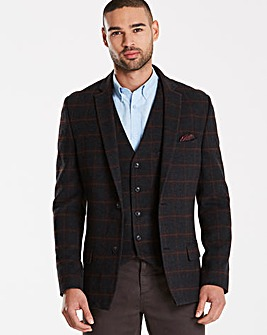 Black Label Checked Wool Blazer Long
