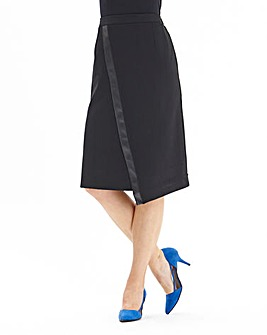 Joanna Hope Pu Trim Ponte Pencil Skirt