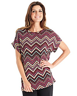 Joanna Hope Metallic Zig Zag Jersey Top