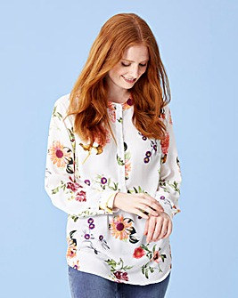 Floral Stand Collar Oversized Top