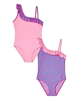 KD Girls Pack of Two One Shoulder Swimsu