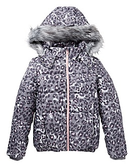 KD Girls Padded Leopard Print Coat