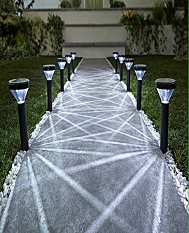 10 White Starburst Solar Stakelights