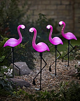 Set of 4 Solar Flamingo Lights