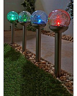 Set of 4 Ball Colour Change Solar Lights