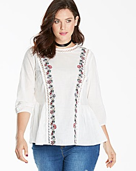 Off White High Neck Embroidered Top