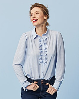 Soft Blue Burn Out Ruffle Front Shirt