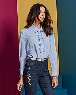 Soft Blue Burn Out Ruffle Front Shirt