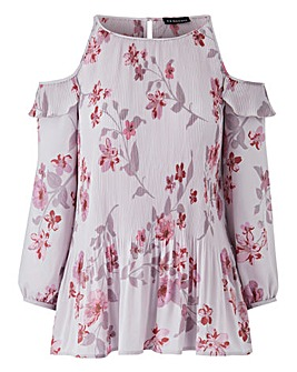 Nude Print Pleated Cold Shoulder Blouse