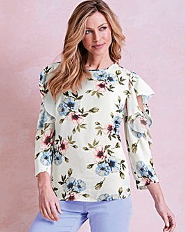 Peony Floral Frill Cold Shoulder Blouse