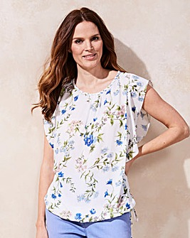 Ivory Floral Bubble Hem Blouse