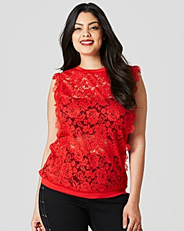 Lace Vest With Rib Trim