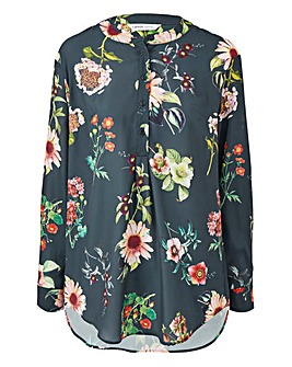 Blue Floral Stand Collar Oversized Top