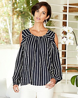 Navy/White Stripe Slip Shoulder Blouse