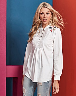 White Embroidered Cotton Blouse