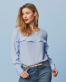 Sky Blue Ruffle Sleeve & Yoke Blouse