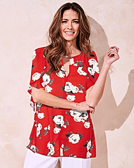 Slip Shoulder Blouse With Ruffle Sleeve